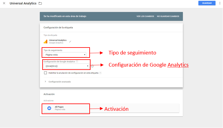 instsalar analytics con tag manager