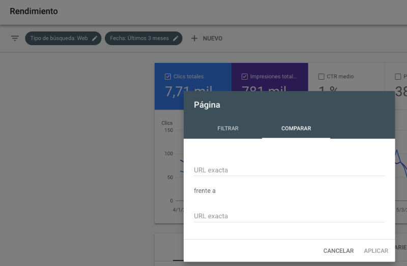 Detectar canibalización SEO comparando URL en Google Search Console