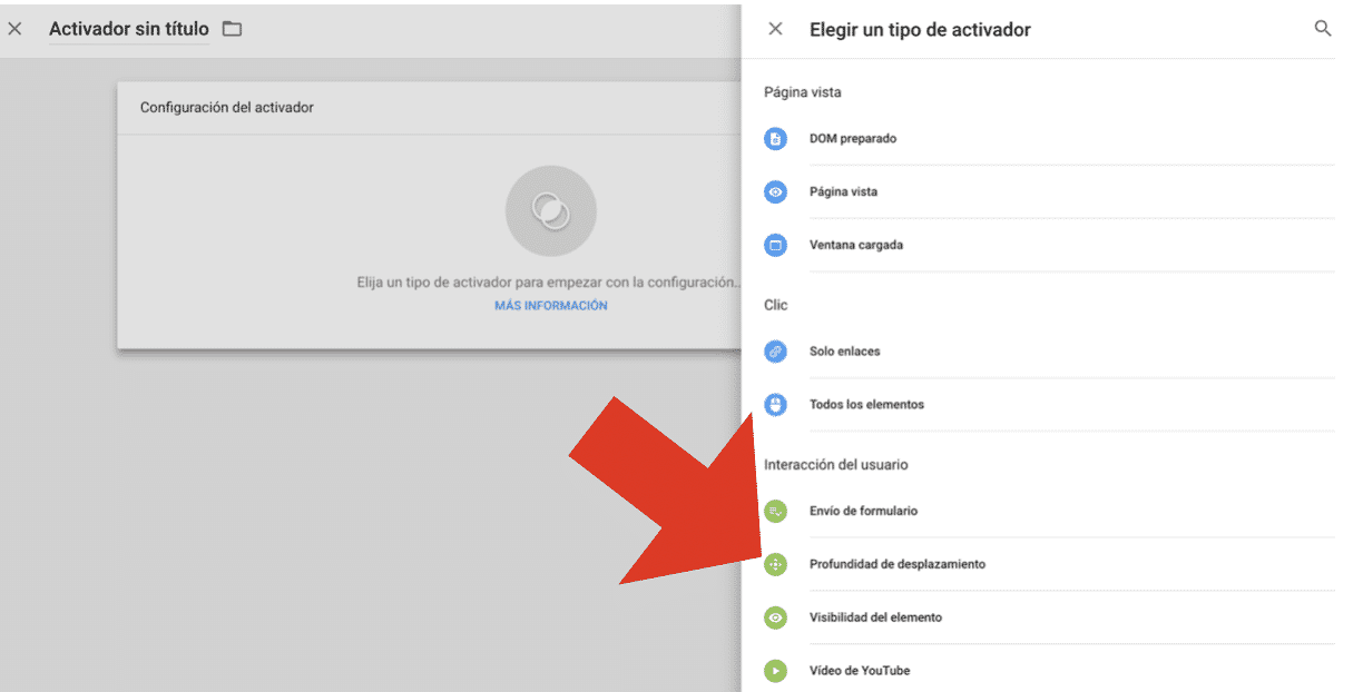 Cómo crear un evento de scroll en Google Tag Manager 7