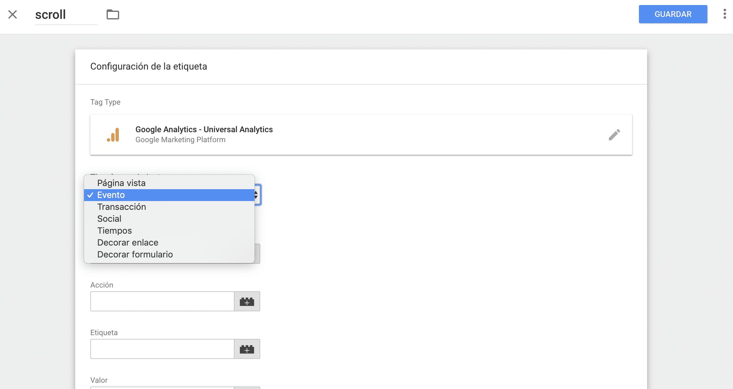 Cómo crear un evento de scroll en Google Tag Manager 6