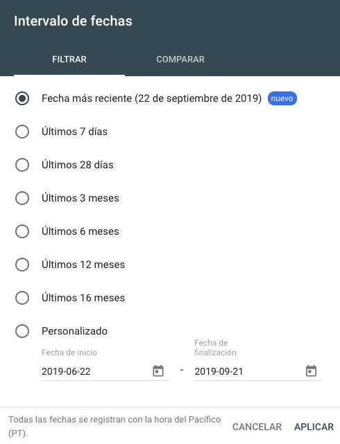 Google Search Console se actualiza y facilita datos con menos de un día de retraso 2