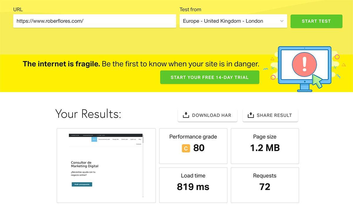 medir la velocidad de carga web con pingdom tools